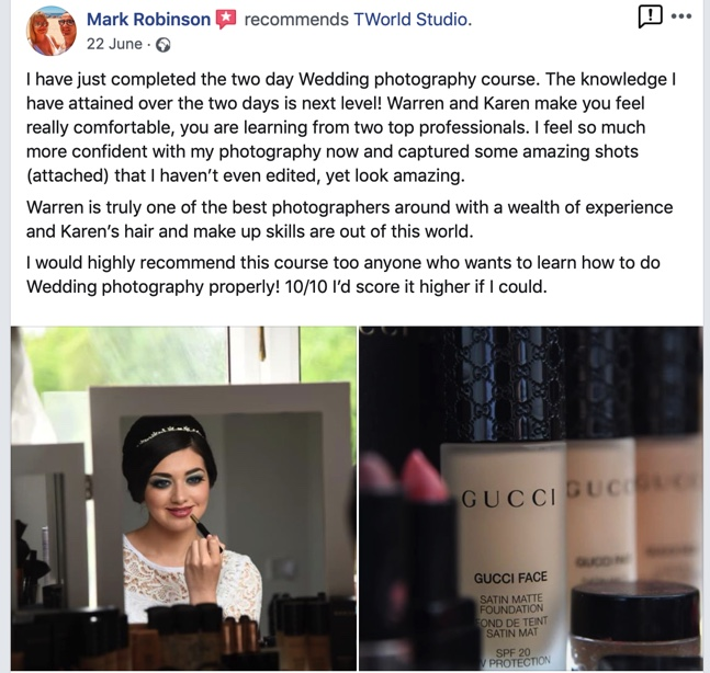 Testimonial from student who attended the wedding photography course
